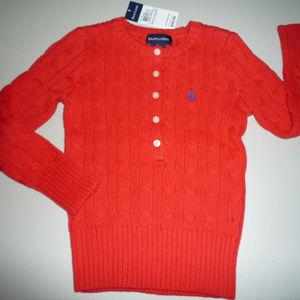 Ralph Lauren Orange LS Cable Sweater, Girls sz 4